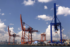 Haydarpasa Commercial Dock and Container Cranes Royalty Free Stock Photos