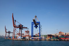 Haydarpasa Commercial Dock and Container Cranes Royalty Free Stock Photography