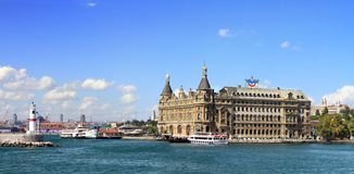 Haydarpasa Harbor, Istanbul. Panoramic view of Haydarpasa Harbor with station building in Istanbul Stock Photo