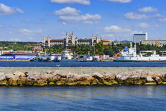 Haydarpasa port and Marmara University Haydarpasa campus in the Royalty Free Stock Image