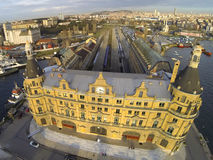 Haydarpasa station building. From above, Istanbul, Turkey Stock Image
