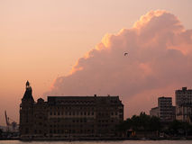 Haydarpasa Station Building with Beautiful Clouds Stock Photos