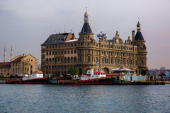 Haydarpasa Train Station Istanbul Turkey. The historic Haydarpasa Train Station viewed from the water while crossing on the ferry from the European side to the Royalty Free Stock Photography