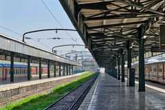 Haydarpasha铁路终端, Kadikoy,伊斯坦布尔,土耳其内部射击  图库摄影