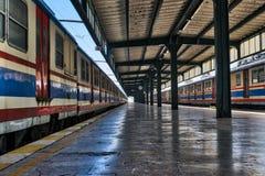 Haydarpasha铁路终端特色的金属捆和两列色的被停止的火车, Kadikoy,伊斯坦布尔,土耳其内部射击  免版税库存照片