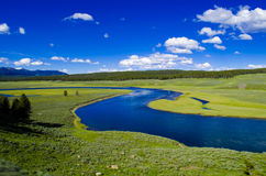Yellowstone River in Hayden Valley. Hayden Valley between Lake and Canyon in Yellowstone National Park, Wyoming stock photography