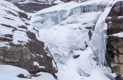 Hayes Creek Falls Frozed over. Frozen Hayes Creek full of icicles in the winter. Photo taken in the Rockies Colorado Stock Images