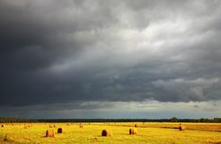 Hayfield. Landscape with hayfield and storm clouds Stock Photo