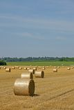 Hayfield and bales Stock Images