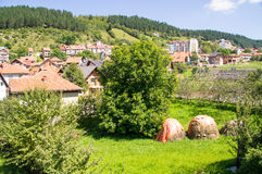 Hayfield nella città Nova Varos in Serbia ad ovest Immagine Stock