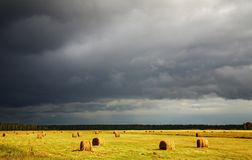 Hayfield and storm clouds. Summer landscape with hayfield and storm clouds Royalty Free Stock Image