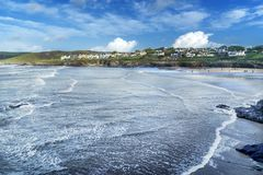 Hayle Bay in Polzeath royalty free stock photography