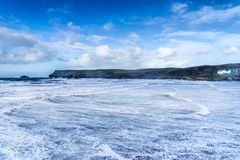 Hayle Bay in Polzeath stock photography