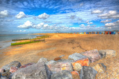 Hayling Island beach near Portsmouth Hampshire England UK in colourful hdr Stock Photo