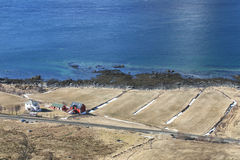 Hayloft e casa na praia de um Lofoten Fotografia de Stock