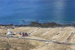 Hayloft e casa sulla spiaggia del Lofoten Fotografia Stock