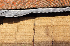 Hayloft and hay. Bundle of hay in a hayloft Royalty Free Stock Photos