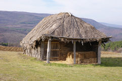 Hayloft from interwoven sticks and thatch Royalty Free Stock Photos