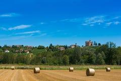 Haymaking в итальянских полях Стоковое Фото
