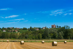 Haymaking in italian fields Stock Photo