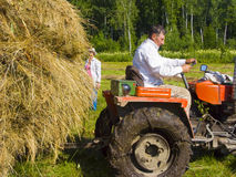 Haymaking in Siberia 3. The image of preparation of hay peasants in Siberia Stock Photography