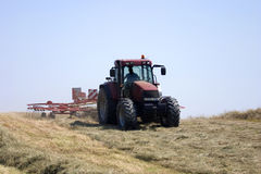 Haymaking: tractor turning hay. Haymaking on the hills. Montalto, Oltrepo Pavese, Italy: a tractor turning hay royalty free stock images