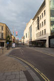 The Haymarket, Bristol. ENGLAND, BRISTOL - 13 SEP 2015: The Haymarket, early morning, Debenhams, Primark shops, street view stock photo