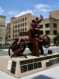 Haymarket Memorial. This is a Summer picture of a piece of public art titled: Haymarket Memorial, on display on the Westside of Chicago, Illinois in Cook County stock photo