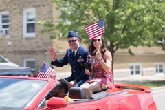 The Haynes Apperson Parade. Kokomo, Indiana, USA - June 30, 2018: Haynes Apperson Parade, The Parade`s Grand Marshal Member of the United States Air Force Smiles royalty free stock image