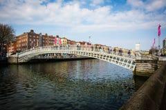 Haypenny Bridge Dublin. Famous scene from Dublin City. the famous Haypenny Bridge Royalty Free Stock Photo