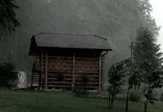 A hayrack in a storm royalty free stock photo