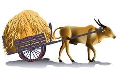 Hayrick in the buffalo cart vector illustration Royalty Free Stock Photo