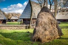 Hayrick in a Romanian village Stock Photo