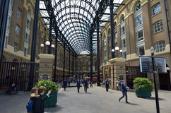 Hays Galleria in London UK. LONDON - MAY 13 2015:Visitors in Hays Galleria. It's a popular tourist attraction complex of offices, restaurants, shops and flats in Royalty Free Stock Photography