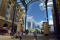 Hays Galleria in London UK. LONDON - MAY 13 2015:Visitors in Hays Galleria. It's a popular tourist attraction complex of offices, restaurants, shops and flats in Royalty Free Stock Photo