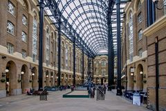 Hays Galleria in London UK. Hays Galleria. It`s a popular tourist attraction complex of offices, restaurants, shops and flats in London Borough of Southwark on Royalty Free Stock Images