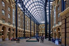 Hays Galleria in London UK. Hays Galleria. It`s a popular tourist attraction complex of offices, restaurants, shops and flats in London Borough of Southwark on Royalty Free Stock Photos