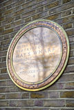 Hays Galleria War Memorial Plaque in London. A golden memorial plaque dedicated to members of staff of the proprietors of Hays Wharf in London, who lost thie Stock Photos