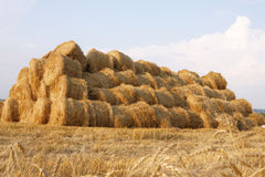 Haystack. Against a background of the sky royalty free stock photo