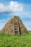 Haystack. With a ladder, a vertical picture Stock Photo