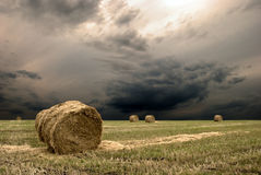 Haystack. On the meadow with the dramatic sky Royalty Free Stock Photography