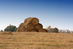 Haystack. In the field there is a big haystack. The Kaluga region on October 5th 2008 Royalty Free Stock Images