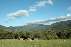 Haystack in Aude, Pyrenees. Languedoc region of france stock images