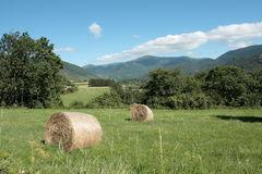 Haystack in Aude, Pyrenees. Languedoc region of france stock photos