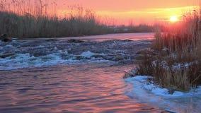 Haystack on autumn sunset stock video