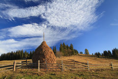 Haystack on a background of blue sky Stock Photos
