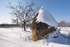 Haystack in Carphatian mountains, Romanian Royalty Free Stock Photography