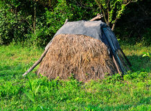 Haystack in countryside Royalty Free Stock Photos