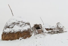 Haystack covered with snow Royalty Free Stock Photos