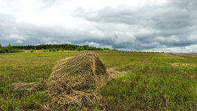 Haystack in the field of clouds in the sky, farmers cleaning hay harvest stock footage